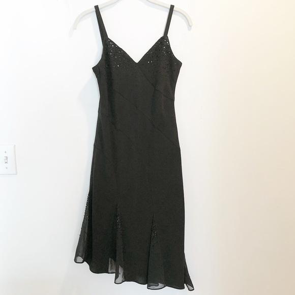 Evan Picone Dresses & Skirts - Black beaded asymmetrical evening dress